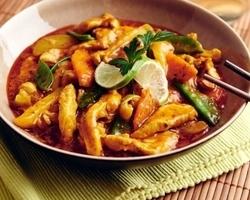 Thaise rode curry met kalkoenreepjes & Jasmijnrijst